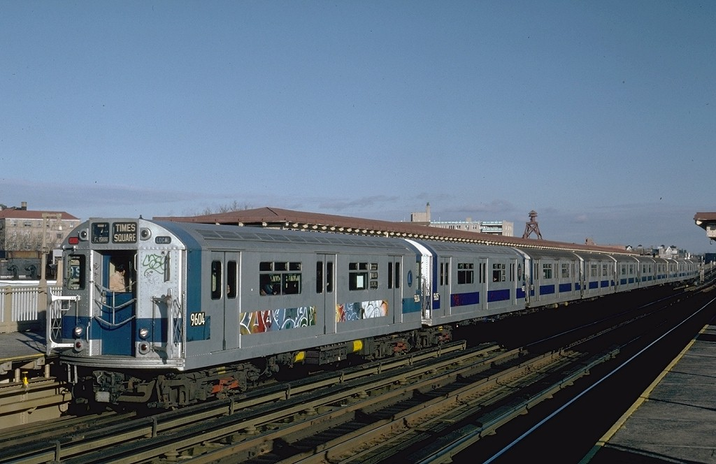 (166k, 1024x664)<br><b>Country:</b> United States<br><b>City:</b> New York<br><b>System:</b> New York City Transit<br><b>Line:</b> IRT Flushing Line<br><b>Location:</b> 69th Street/Fisk Avenue <br><b>Route:</b> 7<br><b>Car:</b> R-36 World's Fair (St. Louis, 1963-64) 9604 <br><b>Photo by:</b> Steve Zabel<br><b>Collection of:</b> Joe Testagrose<br><b>Viewed (this week/total):</b> 4 / 4336