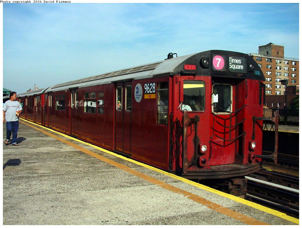 (153k, 1044x788)<br><b>Country:</b> United States<br><b>City:</b> New York<br><b>System:</b> New York City Transit<br><b>Line:</b> IRT Flushing Line<br><b>Location:</b> 69th Street/Fisk Avenue <br><b>Route:</b> 7<br><b>Car:</b> R-36 World's Fair (St. Louis, 1963-64) 9628 <br><b>Photo by:</b> David Pirmann<br><b>Date:</b> 7/16/2001<br><b>Viewed (this week/total):</b> 0 / 3946
