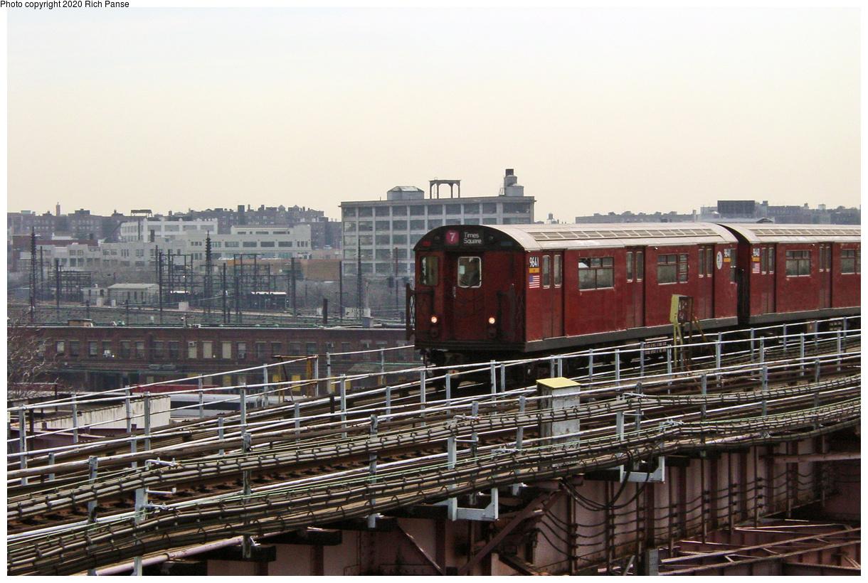 (69k, 820x620)<br><b>Country:</b> United States<br><b>City:</b> New York<br><b>System:</b> New York City Transit<br><b>Line:</b> IRT Flushing Line<br><b>Location:</b> Queensborough Plaza <br><b>Route:</b> 7<br><b>Car:</b> R-36 World's Fair (St. Louis, 1963-64) 9641 <br><b>Photo by:</b> Richard Panse<br><b>Date:</b> 3/7/2002<br><b>Viewed (this week/total):</b> 2 / 3019