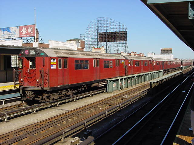 (61k, 640x480)<br><b>Country:</b> United States<br><b>City:</b> New York<br><b>System:</b> New York City Transit<br><b>Line:</b> IRT Flushing Line<br><b>Location:</b> 33rd Street/Rawson Street <br><b>Route:</b> 7<br><b>Car:</b> R-36 World's Fair (St. Louis, 1963-64) 9649 <br><b>Photo by:</b> Salaam Allah<br><b>Date:</b> 9/17/2002<br><b>Viewed (this week/total):</b> 0 / 2571