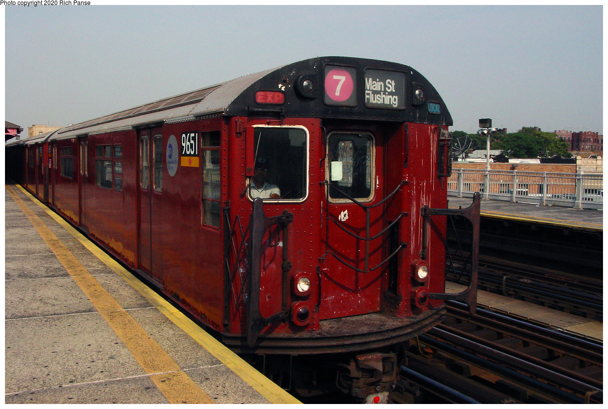 (58k, 820x620)<br><b>Country:</b> United States<br><b>City:</b> New York<br><b>System:</b> New York City Transit<br><b>Line:</b> IRT Flushing Line<br><b>Location:</b> 90th Street/Elmhurst Avenue <br><b>Route:</b> 7<br><b>Car:</b> R-36 World's Fair (St. Louis, 1963-64) 9651 <br><b>Photo by:</b> Richard Panse<br><b>Date:</b> 7/18/2002<br><b>Viewed (this week/total):</b> 1 / 4395