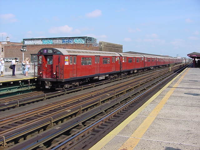 (60k, 640x480)<br><b>Country:</b> United States<br><b>City:</b> New York<br><b>System:</b> New York City Transit<br><b>Line:</b> IRT Flushing Line<br><b>Location:</b> 90th Street/Elmhurst Avenue <br><b>Route:</b> 7<br><b>Car:</b> R-36 World's Fair (St. Louis, 1963-64) 9653 <br><b>Photo by:</b> Salaam Allah<br><b>Date:</b> 9/21/2002<br><b>Viewed (this week/total):</b> 0 / 3478