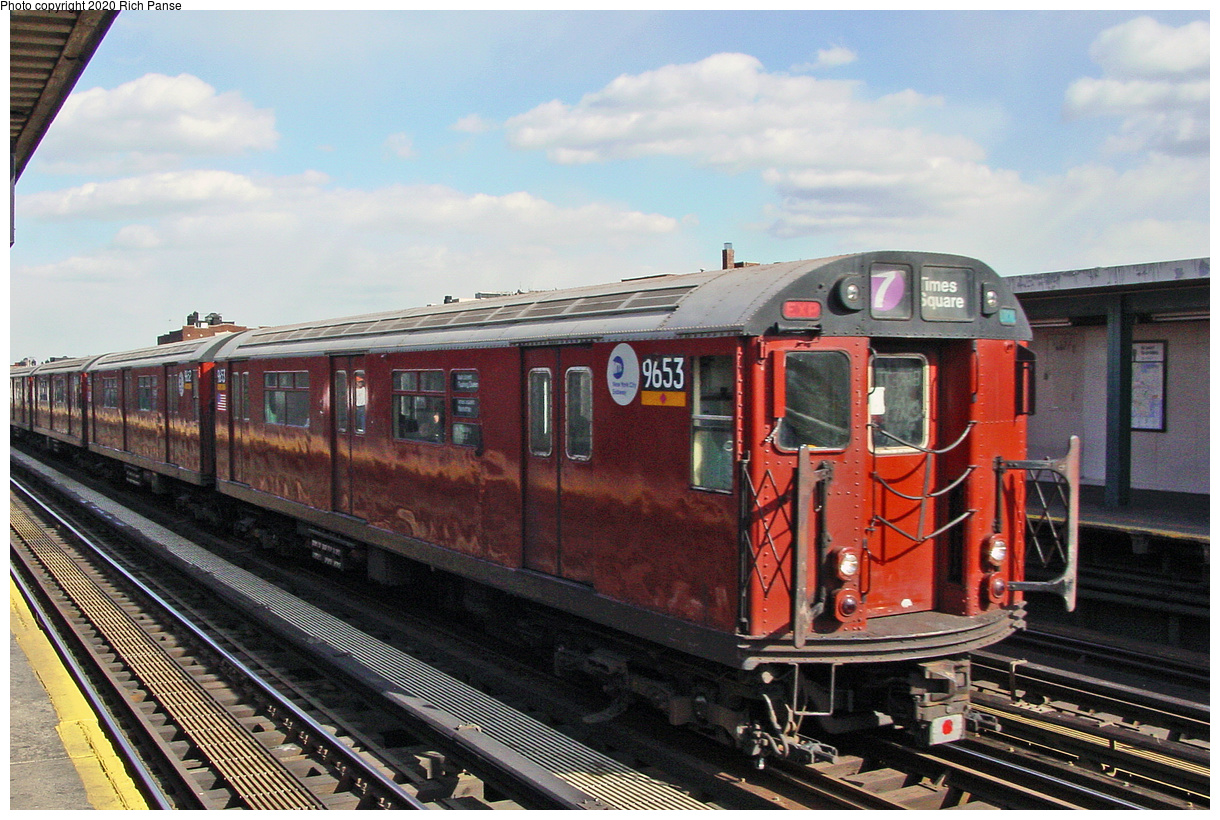 (72k, 820x620)<br><b>Country:</b> United States<br><b>City:</b> New York<br><b>System:</b> New York City Transit<br><b>Line:</b> IRT Flushing Line<br><b>Location:</b> 74th Street/Broadway <br><b>Car:</b> R-36 World's Fair (St. Louis, 1963-64) 9653 <br><b>Photo by:</b> Richard Panse<br><b>Date:</b> 3/22/2002<br><b>Viewed (this week/total):</b> 0 / 2596