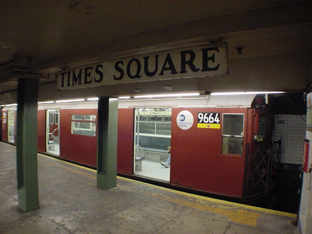 (60k, 640x480)<br><b>Country:</b> United States<br><b>City:</b> New York<br><b>System:</b> New York City Transit<br><b>Line:</b> IRT Flushing Line<br><b>Location:</b> Times Square <br><b>Car:</b> R-36 World's Fair (St. Louis, 1963-64) 9664 <br><b>Photo by:</b> Salaam Allah<br><b>Date:</b> 9/17/2002<br><b>Viewed (this week/total):</b> 5 / 11418