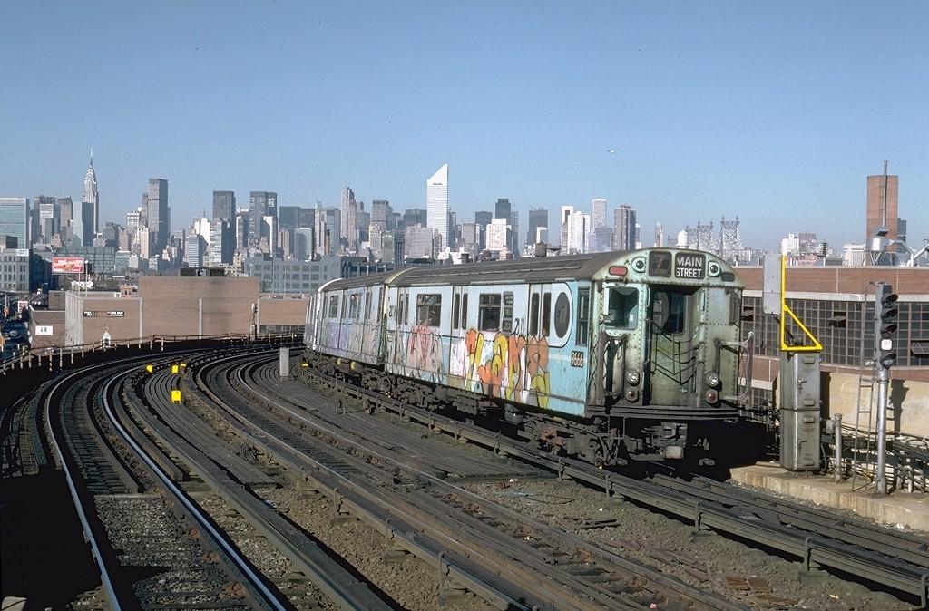 (223k, 1024x674)<br><b>Country:</b> United States<br><b>City:</b> New York<br><b>System:</b> New York City Transit<br><b>Line:</b> IRT Flushing Line<br><b>Location:</b> 33rd Street/Rawson Street <br><b>Route:</b> 7<br><b>Car:</b> R-36 World's Fair (St. Louis, 1963-64) 9666 <br><b>Photo by:</b> Steve Zabel<br><b>Collection of:</b> Joe Testagrose<br><b>Date:</b> 11/3/1981<br><b>Viewed (this week/total):</b> 3 / 5836
