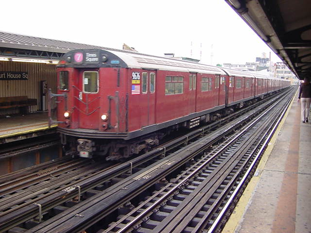 (60k, 640x480)<br><b>Country:</b> United States<br><b>City:</b> New York<br><b>System:</b> New York City Transit<br><b>Line:</b> IRT Flushing Line<br><b>Location:</b> Court House Square/45th Road <br><b>Route:</b> 7<br><b>Car:</b> R-36 World's Fair (St. Louis, 1963-64) 9676 <br><b>Photo by:</b> Salaam Allah<br><b>Date:</b> 9/27/2002<br><b>Viewed (this week/total):</b> 3 / 2531