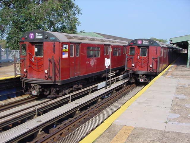 (59k, 640x480)<br><b>Country:</b> United States<br><b>City:</b> New York<br><b>System:</b> New York City Transit<br><b>Line:</b> IRT Flushing Line<br><b>Location:</b> Willets Point/Mets (fmr. Shea Stadium) <br><b>Route:</b> 7<br><b>Car:</b> R-36 World's Fair (St. Louis, 1963-64) 9693 <br><b>Photo by:</b> Salaam Allah<br><b>Date:</b> 9/21/2002<br><b>Viewed (this week/total):</b> 2 / 3638