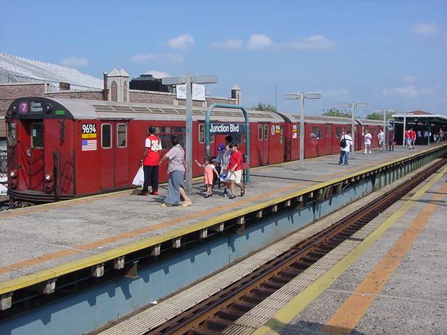 (59k, 640x480)<br><b>Country:</b> United States<br><b>City:</b> New York<br><b>System:</b> New York City Transit<br><b>Line:</b> IRT Flushing Line<br><b>Location:</b> Junction Boulevard <br><b>Route:</b> 7<br><b>Car:</b> R-36 World's Fair (St. Louis, 1963-64) 9694 <br><b>Photo by:</b> Salaam Allah<br><b>Date:</b> 9/21/2002<br><b>Viewed (this week/total):</b> 0 / 6701