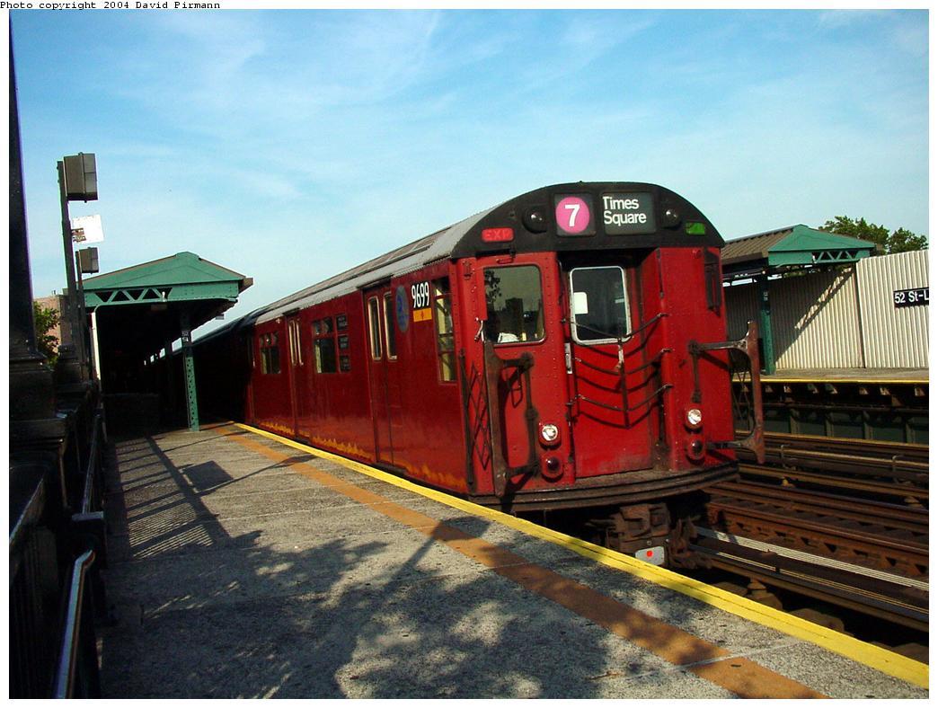 (133k, 1044x788)<br><b>Country:</b> United States<br><b>City:</b> New York<br><b>System:</b> New York City Transit<br><b>Line:</b> IRT Flushing Line<br><b>Location:</b> 52nd Street/Lincoln Avenue <br><b>Route:</b> 7<br><b>Car:</b> R-36 World's Fair (St. Louis, 1963-64) 9699 <br><b>Photo by:</b> David Pirmann<br><b>Date:</b> 7/16/2001<br><b>Viewed (this week/total):</b> 3 / 4626