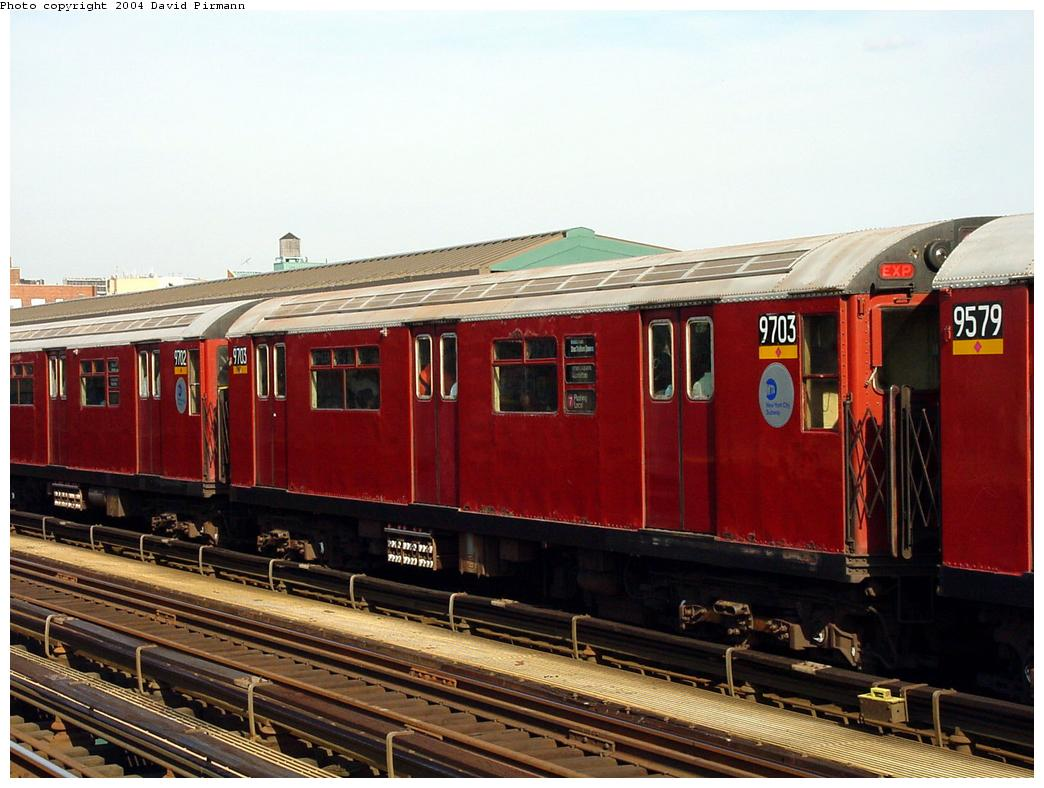 (123k, 1044x788)<br><b>Country:</b> United States<br><b>City:</b> New York<br><b>System:</b> New York City Transit<br><b>Line:</b> IRT Flushing Line<br><b>Location:</b> 69th Street/Fisk Avenue <br><b>Route:</b> 7<br><b>Car:</b> R-36 World's Fair (St. Louis, 1963-64) 9703 <br><b>Photo by:</b> David Pirmann<br><b>Date:</b> 7/16/2001<br><b>Viewed (this week/total):</b> 4 / 3900