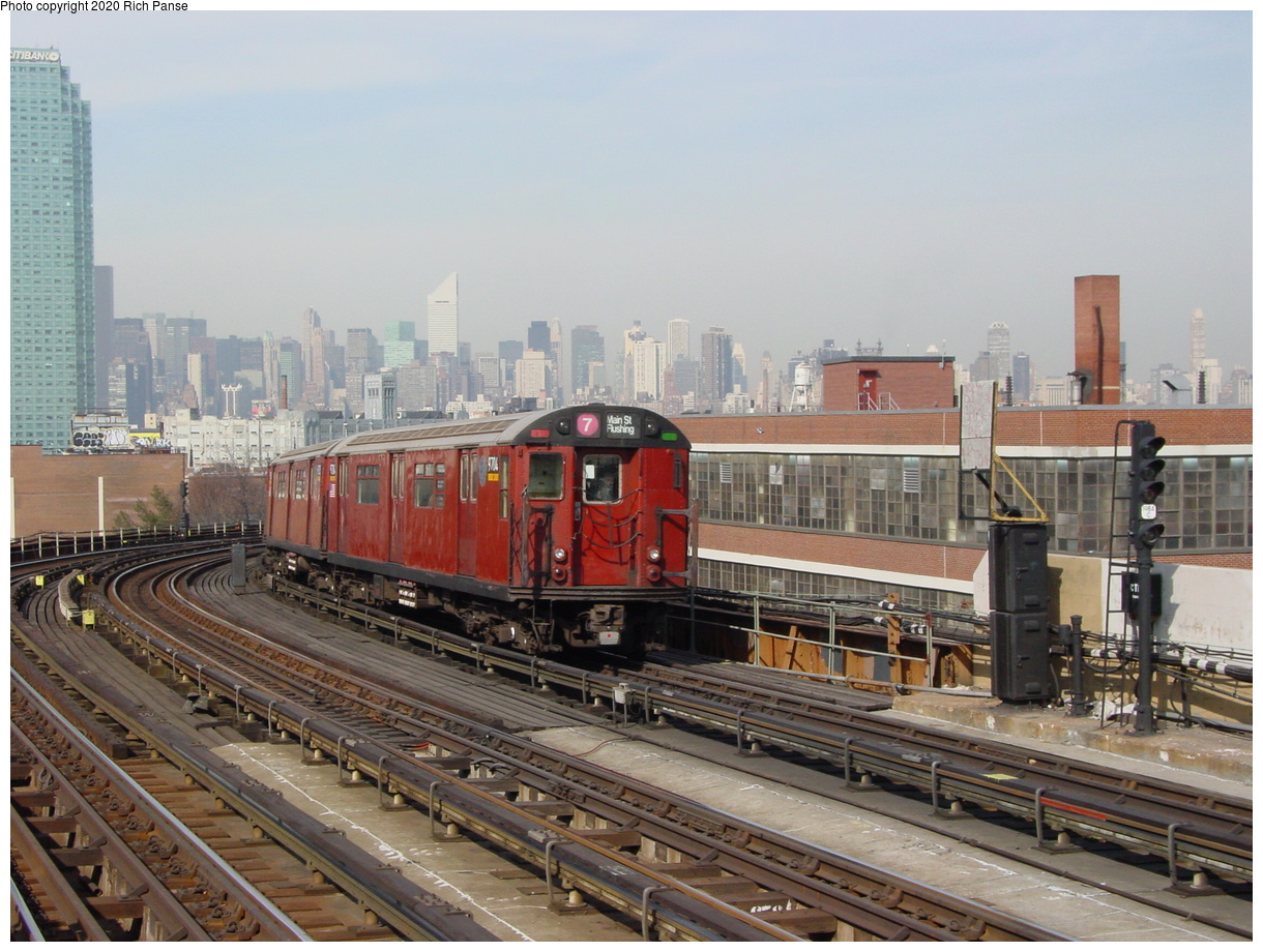 (82k, 820x620)<br><b>Country:</b> United States<br><b>City:</b> New York<br><b>System:</b> New York City Transit<br><b>Line:</b> IRT Flushing Line<br><b>Location:</b> 33rd Street/Rawson Street <br><b>Route:</b> 7<br><b>Car:</b> R-36 World's Fair (St. Louis, 1963-64) 9704 <br><b>Photo by:</b> Richard Panse<br><b>Date:</b> 3/7/2002<br><b>Viewed (this week/total):</b> 0 / 2716