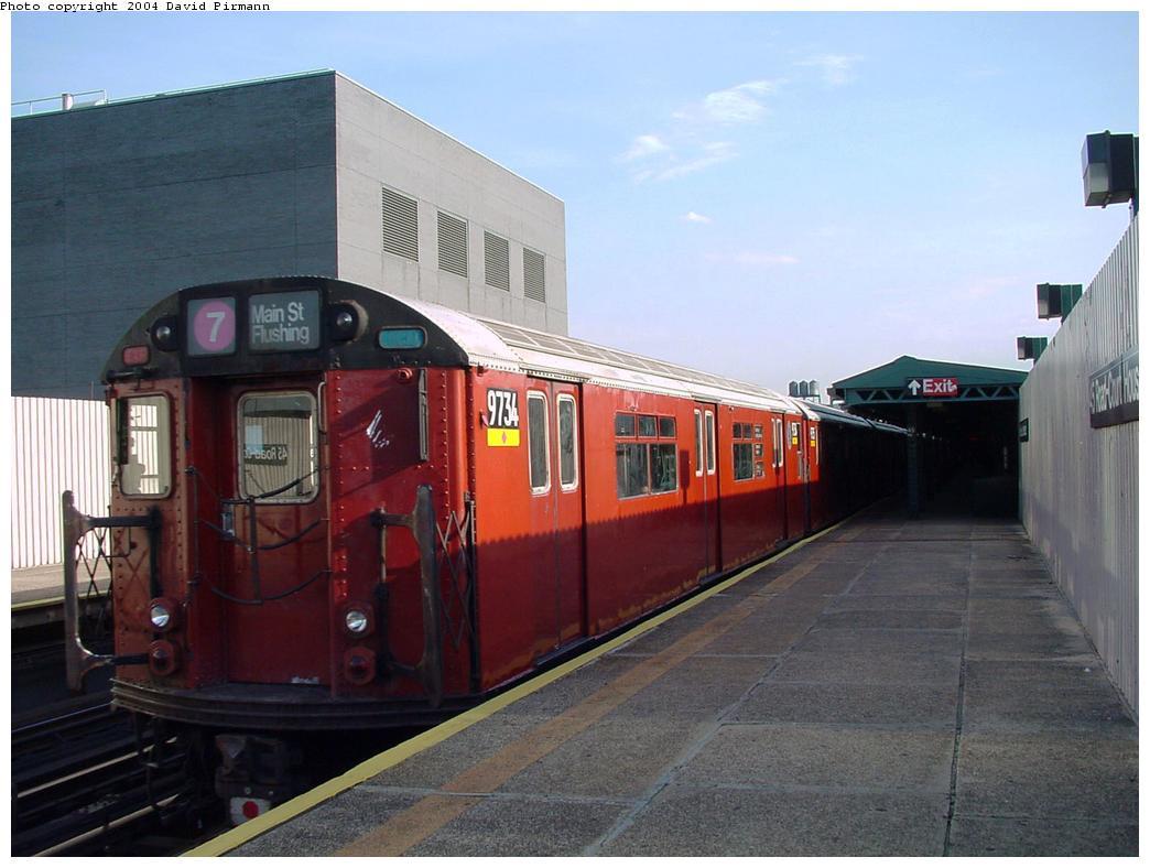 (108k, 1044x788)<br><b>Country:</b> United States<br><b>City:</b> New York<br><b>System:</b> New York City Transit<br><b>Line:</b> IRT Flushing Line<br><b>Location:</b> Court House Square/45th Road <br><b>Route:</b> 7<br><b>Car:</b> R-36 World's Fair (St. Louis, 1963-64) 9734 <br><b>Photo by:</b> David Pirmann<br><b>Date:</b> 7/16/2001<br><b>Viewed (this week/total):</b> 0 / 3391
