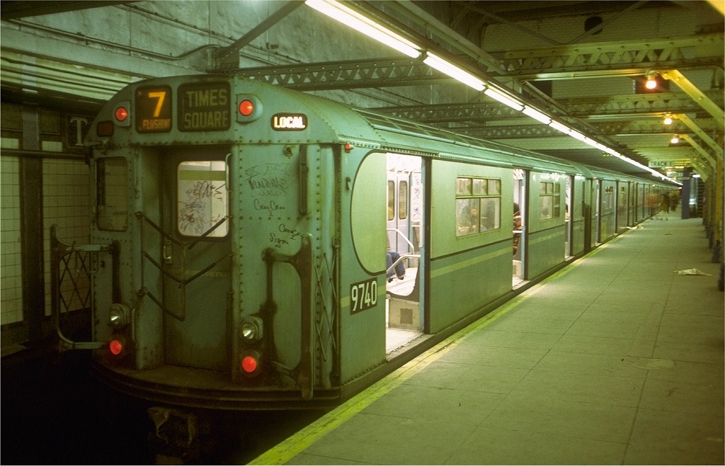 (171k, 1024x658)<br><b>Country:</b> United States<br><b>City:</b> New York<br><b>System:</b> New York City Transit<br><b>Line:</b> IRT Flushing Line<br><b>Location:</b> Times Square <br><b>Route:</b> 7<br><b>Car:</b> R-36 World's Fair (St. Louis, 1963-64) 9740 <br><b>Collection of:</b> Joe Testagrose<br><b>Date:</b> 2/24/1974<br><b>Viewed (this week/total):</b> 3 / 8965