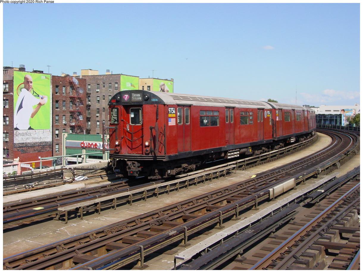 (94k, 820x620)<br><b>Country:</b> United States<br><b>City:</b> New York<br><b>System:</b> New York City Transit<br><b>Line:</b> IRT Flushing Line<br><b>Location:</b> 46th Street/Bliss Street <br><b>Route:</b> 7<br><b>Car:</b> R-36 World's Fair (St. Louis, 1963-64) 9754 <br><b>Photo by:</b> Richard Panse<br><b>Date:</b> 8/21/2002<br><b>Viewed (this week/total):</b> 1 / 4071