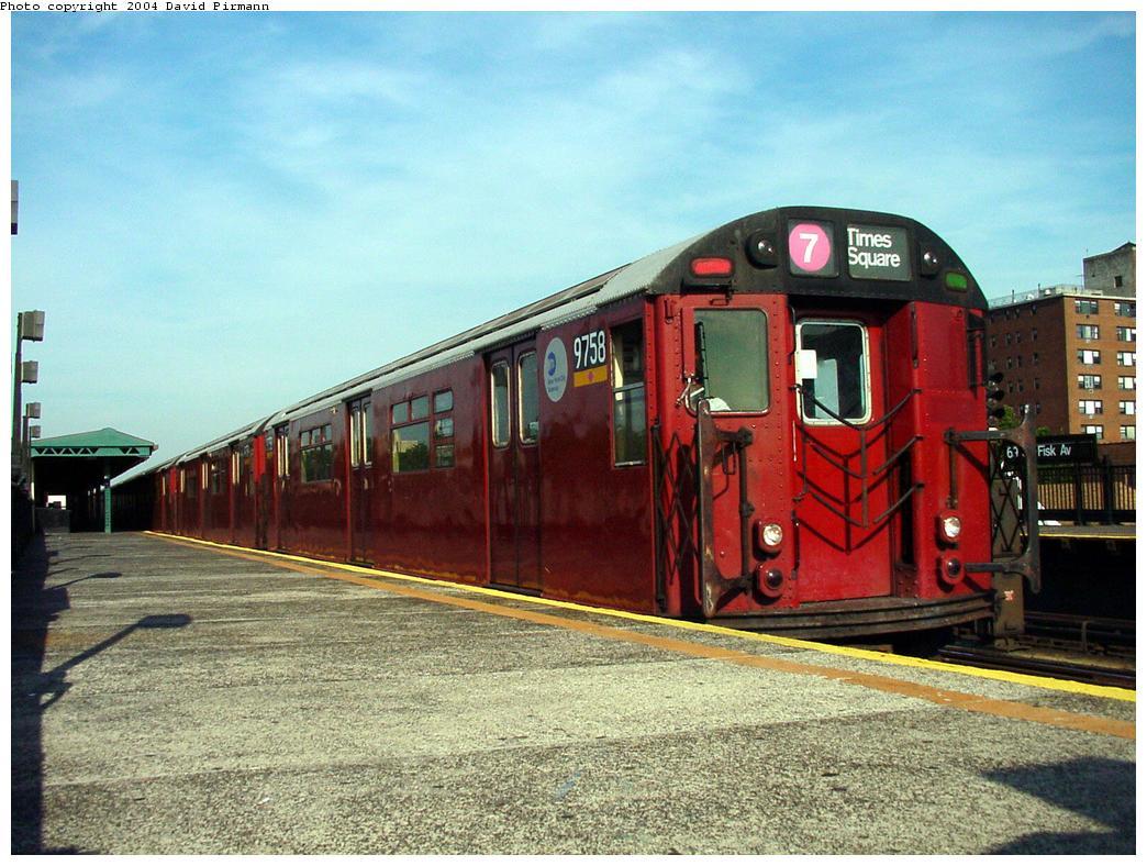 (149k, 1044x788)<br><b>Country:</b> United States<br><b>City:</b> New York<br><b>System:</b> New York City Transit<br><b>Line:</b> IRT Flushing Line<br><b>Location:</b> 69th Street/Fisk Avenue <br><b>Route:</b> 7<br><b>Car:</b> R-36 World's Fair (St. Louis, 1963-64) 9758 <br><b>Photo by:</b> David Pirmann<br><b>Date:</b> 7/16/2001<br><b>Viewed (this week/total):</b> 4 / 5464