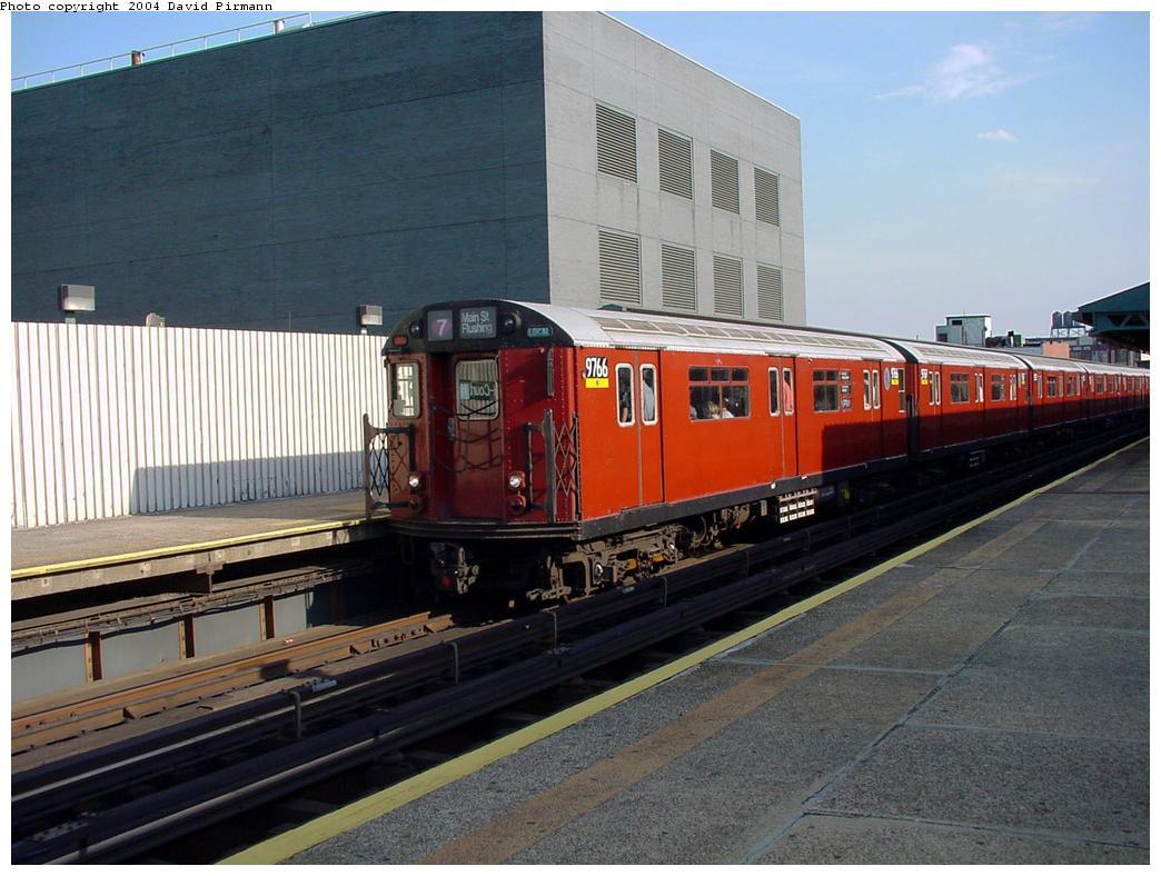 (129k, 1044x788)<br><b>Country:</b> United States<br><b>City:</b> New York<br><b>System:</b> New York City Transit<br><b>Line:</b> IRT Flushing Line<br><b>Location:</b> Court House Square/45th Road <br><b>Route:</b> 7<br><b>Car:</b> R-36 World's Fair (St. Louis, 1963-64) 9766 <br><b>Photo by:</b> David Pirmann<br><b>Date:</b> 7/16/2001<br><b>Viewed (this week/total):</b> 1 / 2298