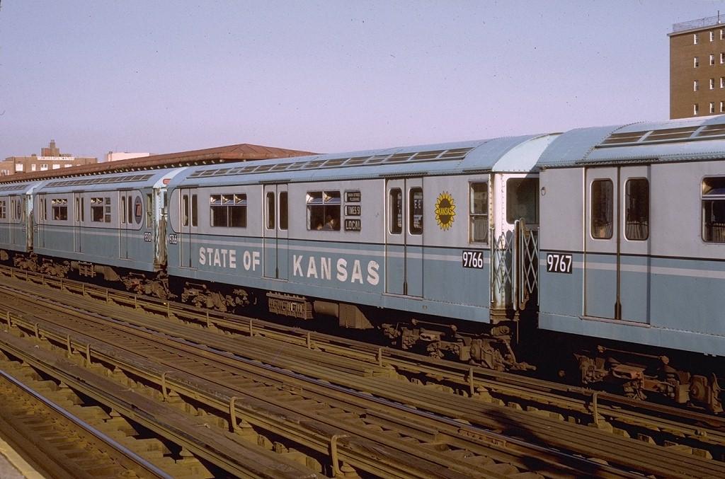 (202k, 1024x677)<br><b>Country:</b> United States<br><b>City:</b> New York<br><b>System:</b> New York City Transit<br><b>Line:</b> IRT Flushing Line<br><b>Location:</b> 69th Street/Fisk Avenue <br><b>Route:</b> 7<br><b>Car:</b> R-36 World's Fair (St. Louis, 1963-64) 9766 <br><b>Photo by:</b> Joe Testagrose<br><b>Date:</b> 5/24/1972<br><b>Viewed (this week/total):</b> 1 / 4307