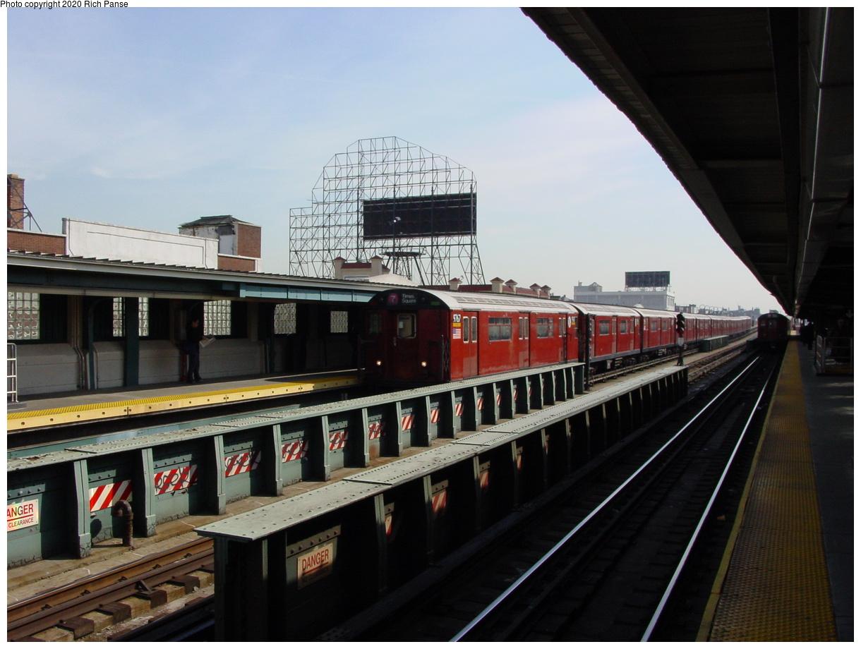 (70k, 820x620)<br><b>Country:</b> United States<br><b>City:</b> New York<br><b>System:</b> New York City Transit<br><b>Line:</b> IRT Flushing Line<br><b>Location:</b> 33rd Street/Rawson Street <br><b>Route:</b> 7<br><b>Car:</b> R-36 World's Fair (St. Louis, 1963-64) 9767 <br><b>Photo by:</b> Richard Panse<br><b>Date:</b> 3/7/2002<br><b>Viewed (this week/total):</b> 1 / 3831