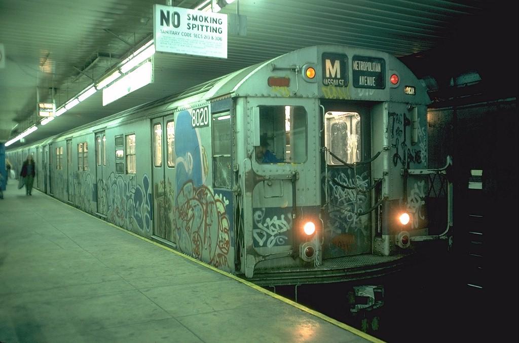 (178k, 1024x676)<br><b>Country:</b> United States<br><b>City:</b> New York<br><b>System:</b> New York City Transit<br><b>Location:</b> DeKalb Avenue<br><b>Route:</b> M<br><b>Car:</b> R-27 (St. Louis, 1960)  8020 <br><b>Photo by:</b> Doug Grotjahn<br><b>Collection of:</b> Joe Testagrose<br><b>Date:</b> 10/6/1976<br><b>Viewed (this week/total):</b> 2 / 8584