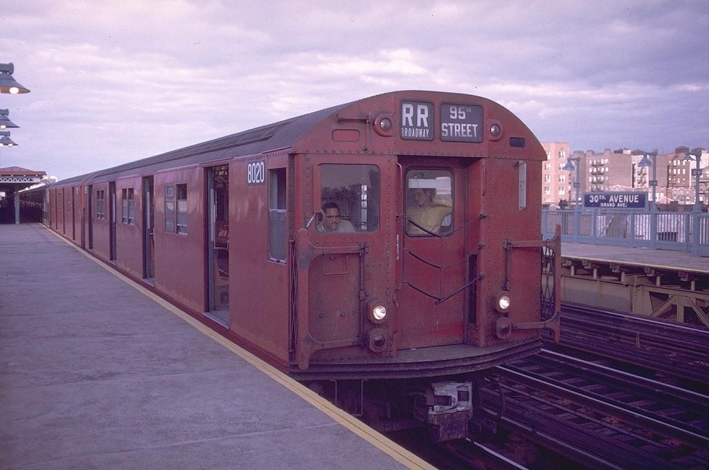 (194k, 1024x679)<br><b>Country:</b> United States<br><b>City:</b> New York<br><b>System:</b> New York City Transit<br><b>Line:</b> BMT Astoria Line<br><b>Location:</b> 30th/Grand Aves. <br><b>Route:</b> RR<br><b>Car:</b> R-27 (St. Louis, 1960)  8020 <br><b>Photo by:</b> Doug Grotjahn<br><b>Collection of:</b> Joe Testagrose<br><b>Date:</b> 9/6/1970<br><b>Viewed (this week/total):</b> 4 / 4500