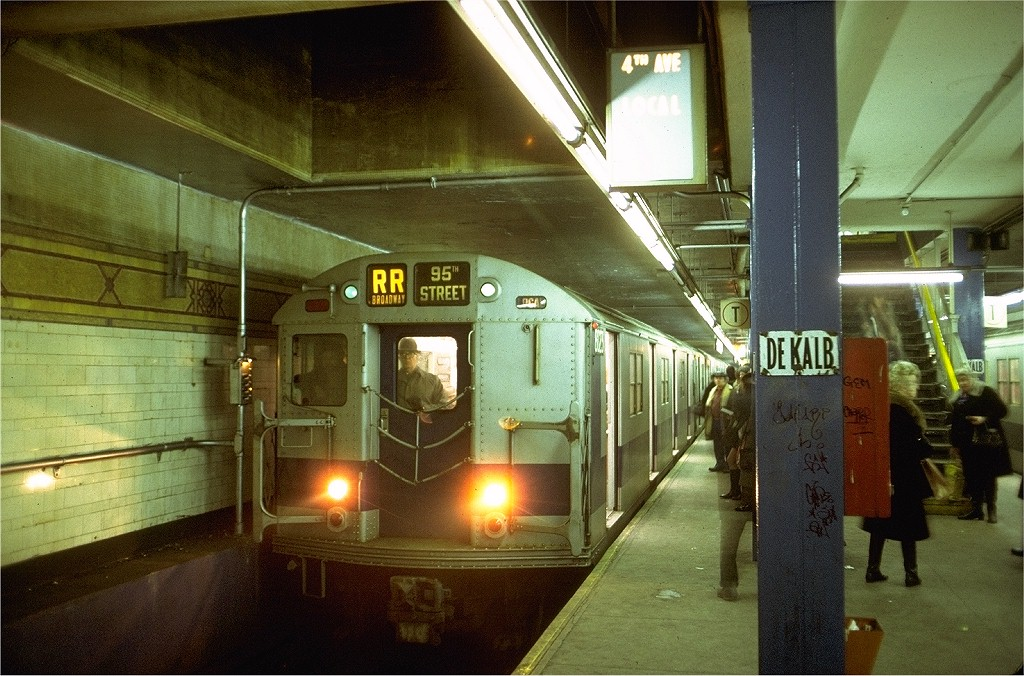 (225k, 1024x676)<br><b>Country:</b> United States<br><b>City:</b> New York<br><b>System:</b> New York City Transit<br><b>Location:</b> DeKalb Avenue<br><b>Route:</b> RR<br><b>Car:</b> R-27 (St. Louis, 1960)  8023 <br><b>Photo by:</b> Doug Grotjahn<br><b>Collection of:</b> Joe Testagrose<br><b>Date:</b> 1/11/1974<br><b>Viewed (this week/total):</b> 0 / 6796