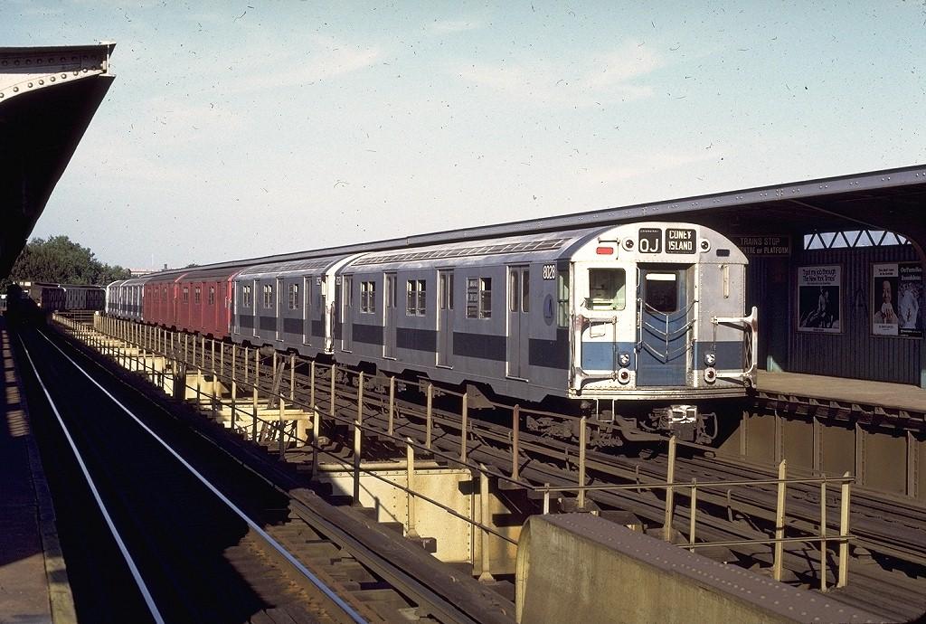 (234k, 1024x690)<br><b>Country:</b> United States<br><b>City:</b> New York<br><b>System:</b> New York City Transit<br><b>Line:</b> BMT Nassau Street/Jamaica Line<br><b>Location:</b> Cypress Hills <br><b>Route:</b> QJ<br><b>Car:</b> R-27 (St. Louis, 1960)  8028 <br><b>Photo by:</b> Doug Grotjahn<br><b>Collection of:</b> Joe Testagrose<br><b>Date:</b> 8/21/1972<br><b>Viewed (this week/total):</b> 0 / 4175