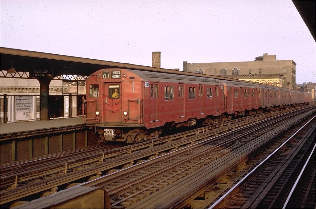 (252k, 1024x677)<br><b>Country:</b> United States<br><b>City:</b> New York<br><b>System:</b> New York City Transit<br><b>Line:</b> BMT Nassau Street/Jamaica Line<br><b>Location:</b> Flushing Avenue <br><b>Route:</b> QJ<br><b>Car:</b> R-27 (St. Louis, 1960)  8030 <br><b>Photo by:</b> Joe Testagrose<br><b>Date:</b> 5/21/1970<br><b>Viewed (this week/total):</b> 5 / 3861