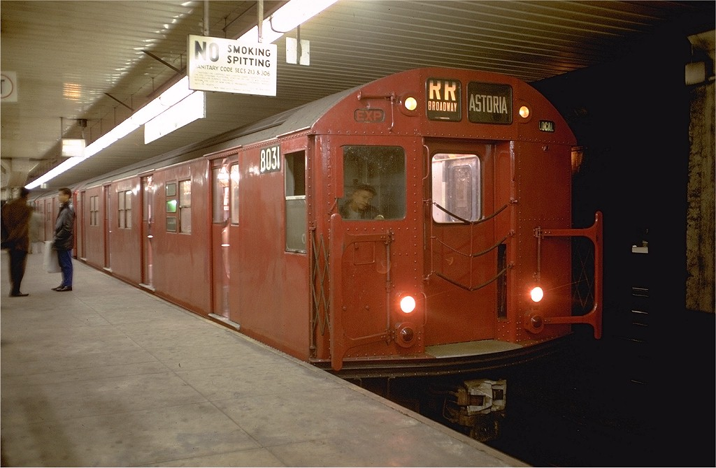 (164k, 1024x670)<br><b>Country:</b> United States<br><b>City:</b> New York<br><b>System:</b> New York City Transit<br><b>Location:</b> DeKalb Avenue<br><b>Route:</b> RR<br><b>Car:</b> R-27 (St. Louis, 1960)  8031 <br><b>Photo by:</b> Doug Grotjahn<br><b>Collection of:</b> Joe Testagrose<br><b>Date:</b> 12/27/1968<br><b>Viewed (this week/total):</b> 0 / 5079