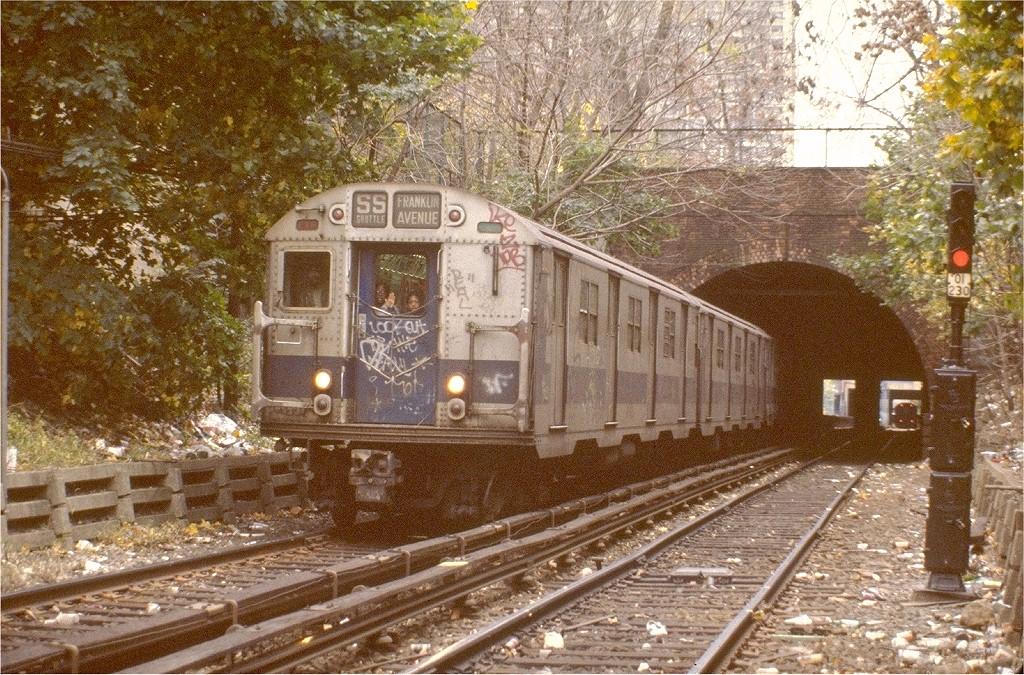 (312k, 1024x675)<br><b>Country:</b> United States<br><b>City:</b> New York<br><b>System:</b> New York City Transit<br><b>Line:</b> BMT Franklin<br><b>Location:</b> Botanic Garden <br><b>Route:</b> Franklin Shuttle<br><b>Car:</b> R-27 (St. Louis, 1960)  8031 <br><b>Photo by:</b> Steve Zabel<br><b>Collection of:</b> Joe Testagrose<br><b>Date:</b> 10/31/1981<br><b>Viewed (this week/total):</b> 12 / 6581