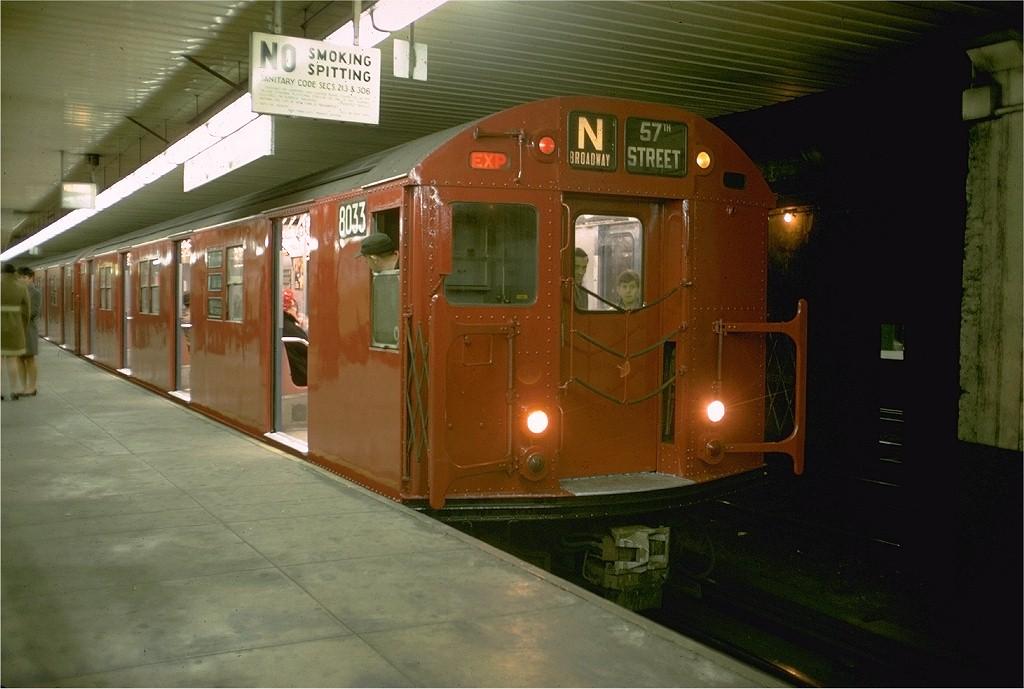(164k, 1024x689)<br><b>Country:</b> United States<br><b>City:</b> New York<br><b>System:</b> New York City Transit<br><b>Location:</b> DeKalb Avenue<br><b>Route:</b> N<br><b>Car:</b> R-27 (St. Louis, 1960)  8033 <br><b>Photo by:</b> Doug Grotjahn<br><b>Collection of:</b> Joe Testagrose<br><b>Date:</b> 12/1/1968<br><b>Viewed (this week/total):</b> 1 / 5197