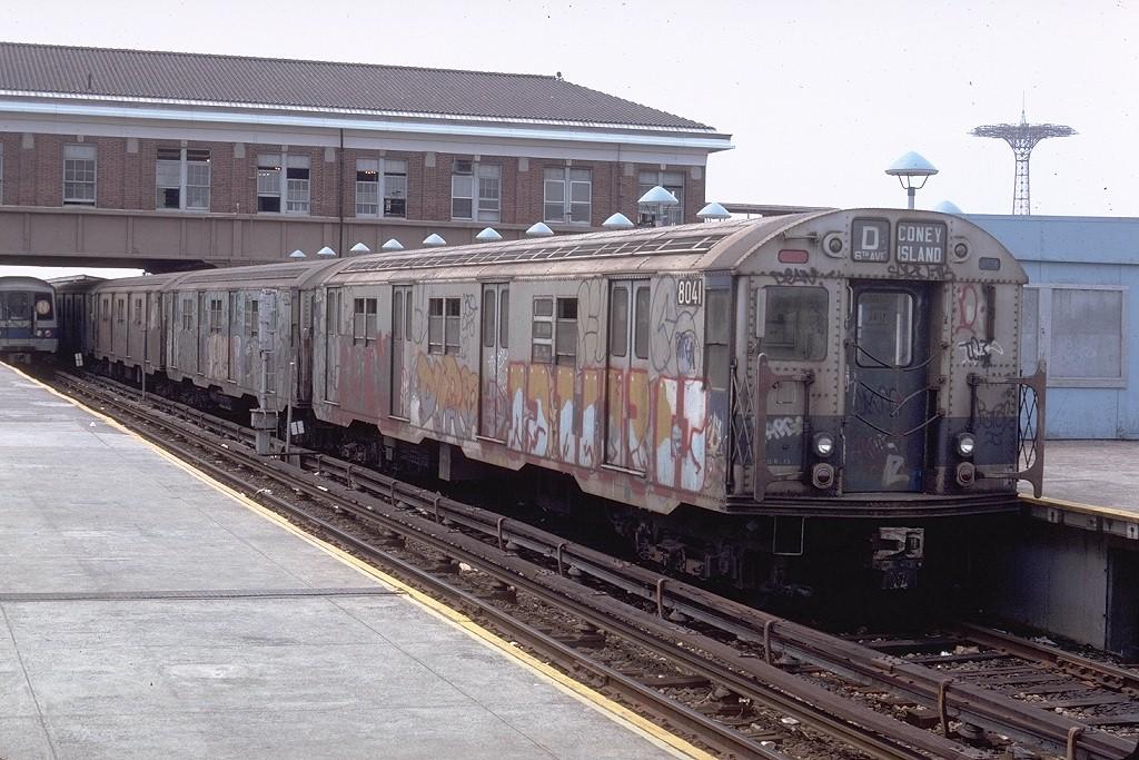 (228k, 1024x683)<br><b>Country:</b> United States<br><b>City:</b> New York<br><b>System:</b> New York City Transit<br><b>Location:</b> Coney Island/Stillwell Avenue<br><b>Route:</b> D<br><b>Car:</b> R-27 (St. Louis, 1960)  8041 <br><b>Photo by:</b> Doug Grotjahn<br><b>Collection of:</b> Joe Testagrose<br><b>Date:</b> 6/16/1979<br><b>Viewed (this week/total):</b> 4 / 6107