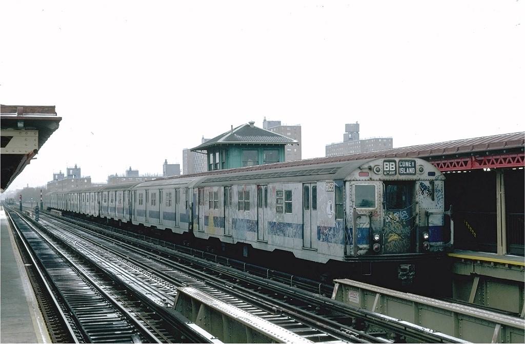 (164k, 1024x670)<br><b>Country:</b> United States<br><b>City:</b> New York<br><b>System:</b> New York City Transit<br><b>Line:</b> BMT West End Line<br><b>Location:</b> Bay 50th Street <br><b>Route:</b> B<br><b>Car:</b> R-27 (St. Louis, 1960)  8055 <br><b>Photo by:</b> Steve Zabel<br><b>Collection of:</b> Joe Testagrose<br><b>Date:</b> 12/9/1981<br><b>Viewed (this week/total):</b> 0 / 4791