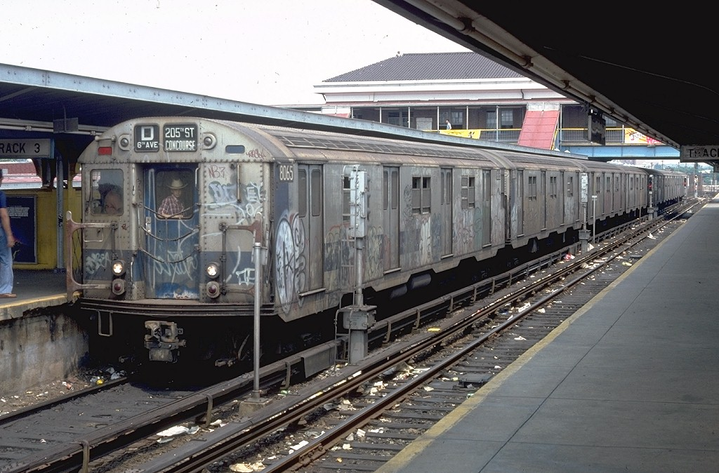 (207k, 1024x674)<br><b>Country:</b> United States<br><b>City:</b> New York<br><b>System:</b> New York City Transit<br><b>Location:</b> Coney Island/Stillwell Avenue<br><b>Route:</b> D<br><b>Car:</b> R-27 (St. Louis, 1960)  8065 <br><b>Photo by:</b> Doug Grotjahn<br><b>Collection of:</b> Joe Testagrose<br><b>Date:</b> 6/16/1979<br><b>Viewed (this week/total):</b> 7 / 5671