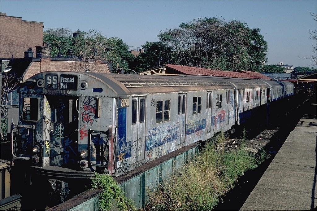 (310k, 1024x681)<br><b>Country:</b> United States<br><b>City:</b> New York<br><b>System:</b> New York City Transit<br><b>Line:</b> BMT Franklin<br><b>Location:</b> Franklin Avenue <br><b>Route:</b> Franklin Shuttle<br><b>Car:</b> R-27 (St. Louis, 1960)  8090 <br><b>Photo by:</b> Steve Zabel<br><b>Collection of:</b> Joe Testagrose<br><b>Date:</b> 9/8/1981<br><b>Viewed (this week/total):</b> 0 / 5475