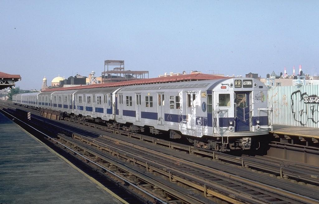 (196k, 1024x655)<br><b>Country:</b> United States<br><b>City:</b> New York<br><b>System:</b> New York City Transit<br><b>Line:</b> BMT Astoria Line<br><b>Location:</b> 30th/Grand Aves. <br><b>Route:</b> RR<br><b>Car:</b> R-27 (St. Louis, 1960)  8102 <br><b>Photo by:</b> Steve Zabel<br><b>Collection of:</b> Joe Testagrose<br><b>Date:</b> 7/6/1981<br><b>Viewed (this week/total):</b> 4 / 4103