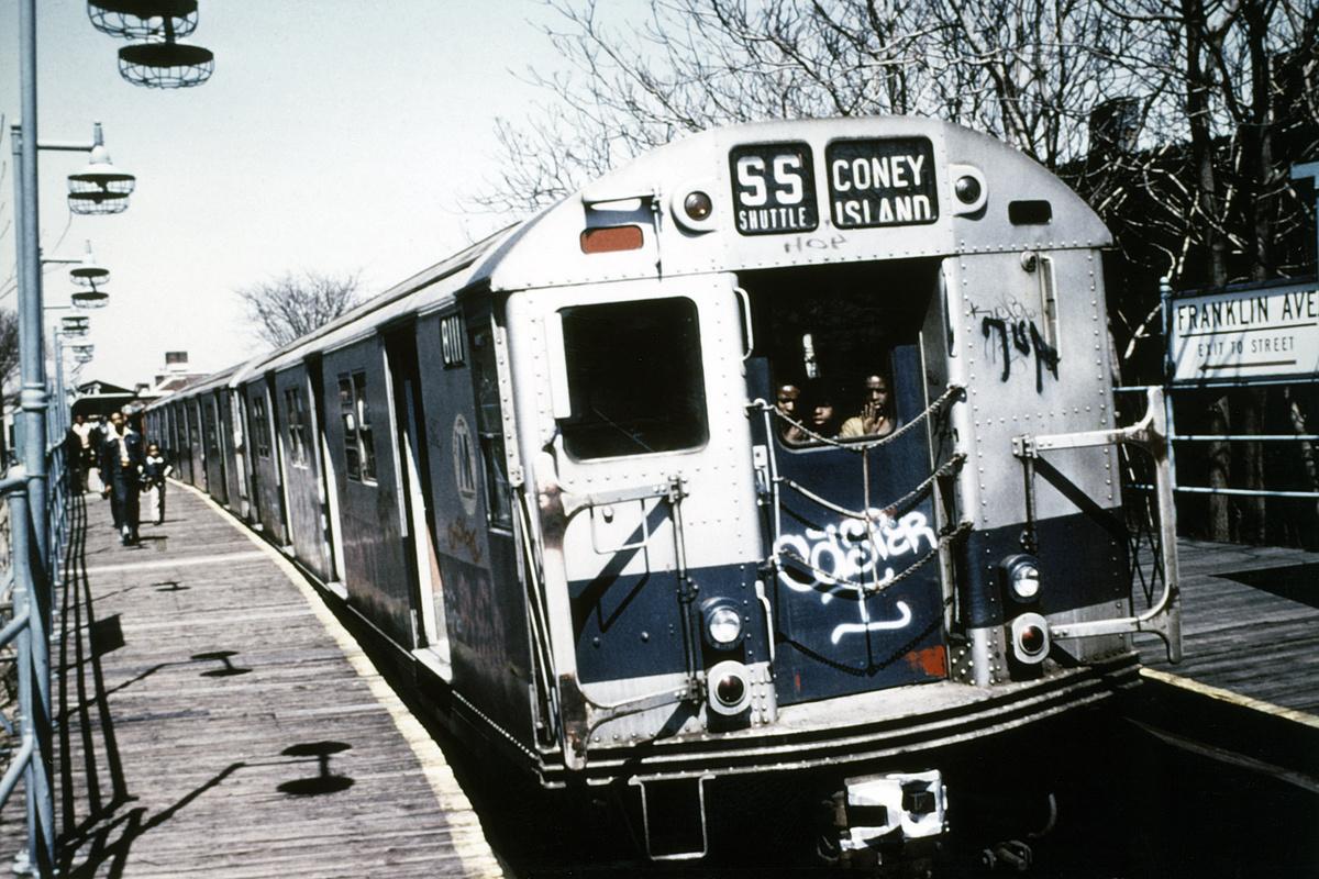 (254k, 1024x665)<br><b>Country:</b> United States<br><b>City:</b> New York<br><b>System:</b> New York City Transit<br><b>Line:</b> BMT Franklin<br><b>Location:</b> Franklin Avenue <br><b>Route:</b> Franklin Shuttle<br><b>Car:</b> R-27 (St. Louis, 1960)  8111 <br><b>Photo by:</b> Doug Grotjahn<br><b>Collection of:</b> Joe Testagrose<br><b>Date:</b> 4/15/1973<br><b>Viewed (this week/total):</b> 1 / 3834