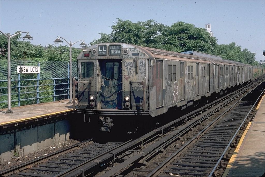 (286k, 1024x682)<br><b>Country:</b> United States<br><b>City:</b> New York<br><b>System:</b> New York City Transit<br><b>Line:</b> BMT Canarsie Line<br><b>Location:</b> New Lots Avenue <br><b>Route:</b> LL<br><b>Car:</b> R-27 (St. Louis, 1960)  8113 <br><b>Photo by:</b> Doug Grotjahn<br><b>Collection of:</b> Joe Testagrose<br><b>Date:</b> 7/8/1979<br><b>Viewed (this week/total):</b> 5 / 6741