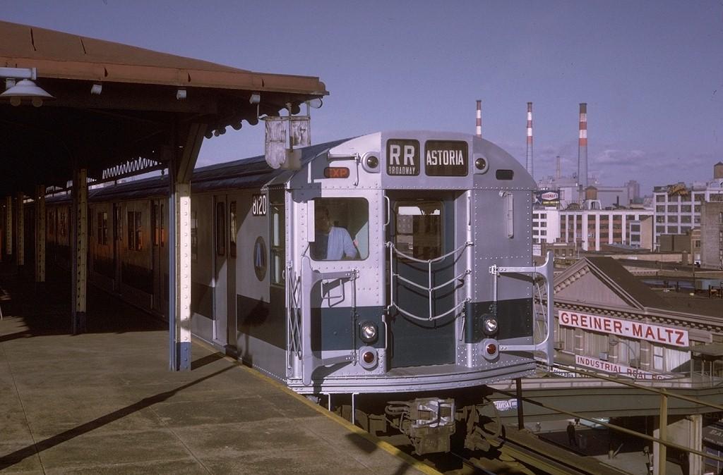 (177k, 1024x674)<br><b>Country:</b> United States<br><b>City:</b> New York<br><b>System:</b> New York City Transit<br><b>Line:</b> BMT Astoria Line<br><b>Location:</b> Queensborough Plaza <br><b>Route:</b> RR<br><b>Car:</b> R-27 (St. Louis, 1960)  8120 <br><b>Photo by:</b> Steve Zabel<br><b>Collection of:</b> Joe Testagrose<br><b>Date:</b> 12/6/1970<br><b>Viewed (this week/total):</b> 3 / 5872