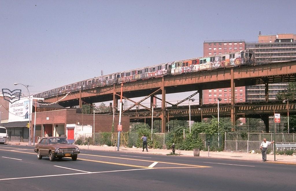 (212k, 1024x661)<br><b>Country:</b> United States<br><b>City:</b> New York<br><b>System:</b> New York City Transit<br><b>Line:</b> BMT Brighton Line<br><b>Location:</b> West 8th Street <br><b>Route:</b> M<br><b>Car:</b> R-27 (St. Louis, 1960)  8127 <br><b>Photo by:</b> Doug Grotjahn<br><b>Collection of:</b> Joe Testagrose<br><b>Date:</b> 8/23/1978<br><b>Viewed (this week/total):</b> 13 / 8883