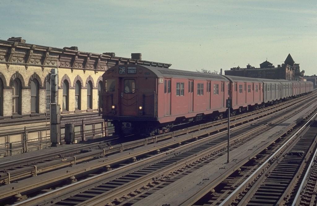(193k, 1024x665)<br><b>Country:</b> United States<br><b>City:</b> New York<br><b>System:</b> New York City Transit<br><b>Line:</b> BMT Nassau Street/Jamaica Line<br><b>Location:</b> Halsey Street <br><b>Route:</b> QJ<br><b>Car:</b> R-27 (St. Louis, 1960)  8128 <br><b>Photo by:</b> Joe Testagrose<br><b>Date:</b> 2/22/1970<br><b>Viewed (this week/total):</b> 0 / 4285