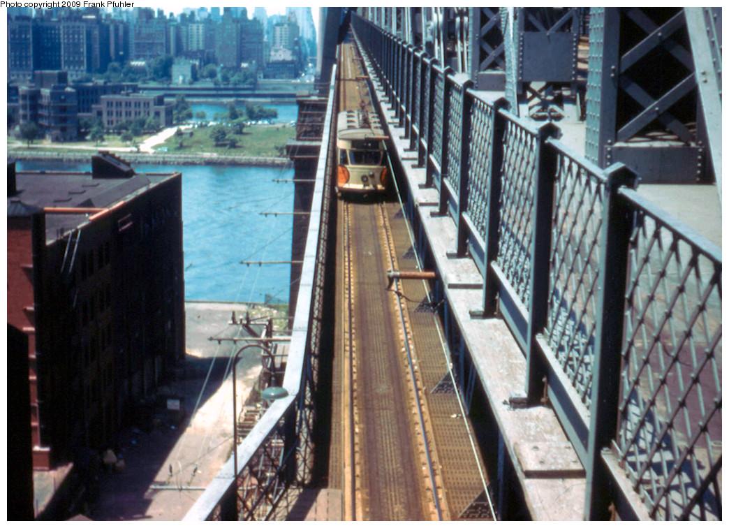 (300k, 1044x756)<br><b>Country:</b> United States<br><b>City:</b> New York<br><b>System:</b> Queensborough Bridge Railway<br><b>Photo by:</b> Frank Pfuhler<br><b>Date:</b> 7/3/1955<br><b>Notes:</b> Queens bound car on bridge.<br><b>Viewed (this week/total):</b> 5 / 5096