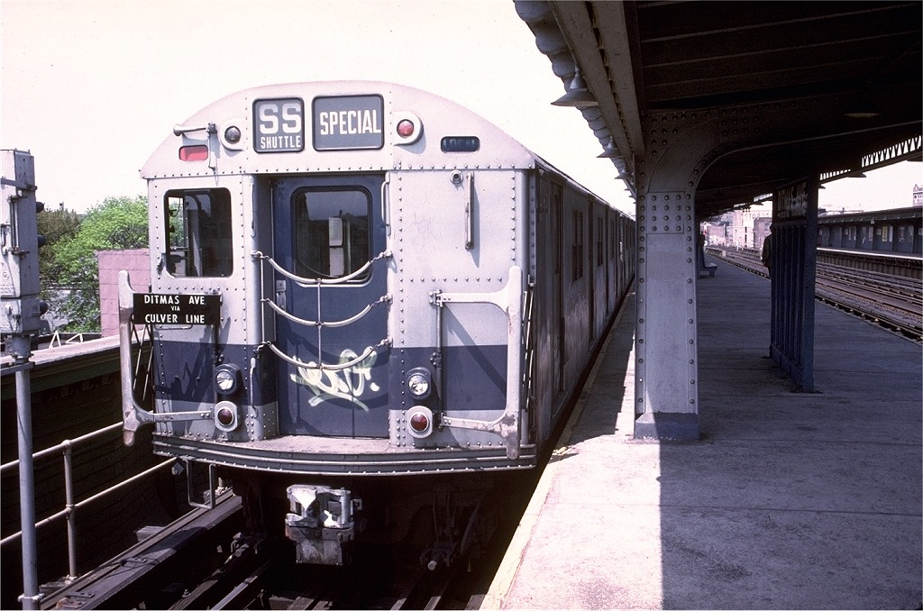 (200k, 1024x678)<br><b>Country:</b> United States<br><b>City:</b> New York<br><b>System:</b> New York City Transit<br><b>Line:</b> BMT Culver Line<br><b>Location:</b> Ditmas Avenue-Shuttle<br><b>Route:</b> Culver Shuttle<br><b>Car:</b> R-27 (St. Louis, 1960)  8146 <br><b>Photo by:</b> Doug Grotjahn<br><b>Collection of:</b> Joe Testagrose<br><b>Date:</b> 5/10/1975<br><b>Viewed (this week/total):</b> 0 / 4649