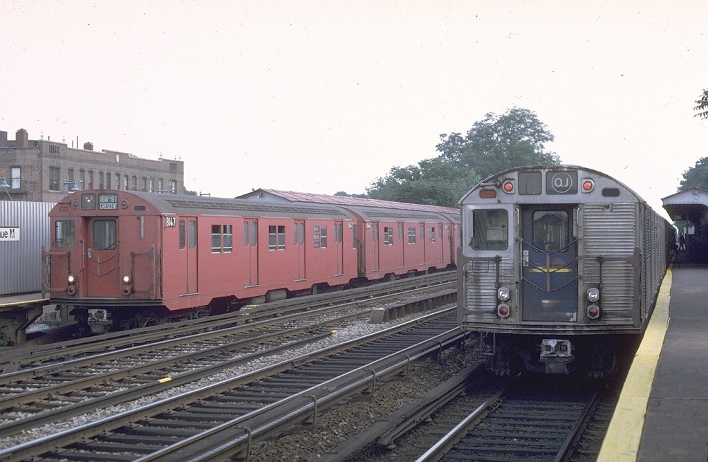 (176k, 1024x668)<br><b>Country:</b> United States<br><b>City:</b> New York<br><b>System:</b> New York City Transit<br><b>Line:</b> BMT Brighton Line<br><b>Location:</b> Avenue M <br><b>Route:</b> QJ<br><b>Car:</b> R-27 (St. Louis, 1960)  8147 <br><b>Photo by:</b> Doug Grotjahn<br><b>Collection of:</b> Joe Testagrose<br><b>Date:</b> 6/27/1972<br><b>Viewed (this week/total):</b> 6 / 4553