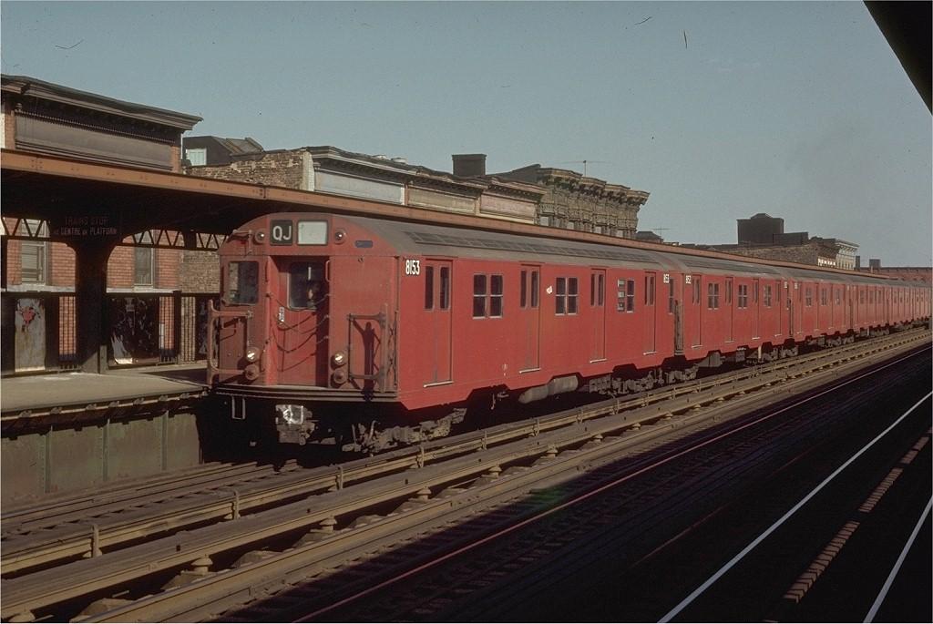 (187k, 1024x685)<br><b>Country:</b> United States<br><b>City:</b> New York<br><b>System:</b> New York City Transit<br><b>Line:</b> BMT Nassau Street/Jamaica Line<br><b>Location:</b> Kosciuszko Street <br><b>Route:</b> QJ<br><b>Car:</b> R-27 (St. Louis, 1960)  8153 <br><b>Photo by:</b> Joe Testagrose<br><b>Date:</b> 4/12/1970<br><b>Viewed (this week/total):</b> 2 / 3635