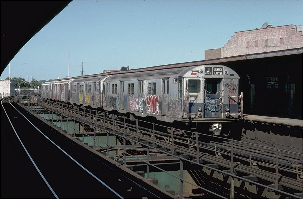 (184k, 1024x674)<br><b>Country:</b> United States<br><b>City:</b> New York<br><b>System:</b> New York City Transit<br><b>Line:</b> BMT Nassau Street/Jamaica Line<br><b>Location:</b> Sutphin Boulevard (Demolished) <br><b>Route:</b> J<br><b>Car:</b> R-27 (St. Louis, 1960)  8173 <br><b>Collection of:</b> Joe Testagrose<br><b>Date:</b> 9/9/1977<br><b>Viewed (this week/total):</b> 0 / 6762