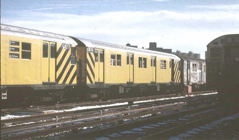 (46k, 825x482)<br><b>Country:</b> United States<br><b>City:</b> New York<br><b>System:</b> New York City Transit<br><b>Location:</b> Coney Island Yard<br><b>Car:</b> R-27 (St. Louis, 1960)  G8217/G8174 <br><b>Photo by:</b> Harold<br><b>Notes:</b> Only GE R27s painted for work service<br><b>Viewed (this week/total):</b> 5 / 3019