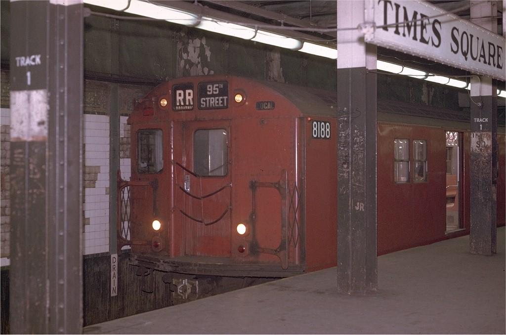 (160k, 1024x678)<br><b>Country:</b> United States<br><b>City:</b> New York<br><b>System:</b> New York City Transit<br><b>Line:</b> BMT Broadway Line<br><b>Location:</b> Times Square/42nd Street <br><b>Route:</b> RR<br><b>Car:</b> R-27 (St. Louis, 1960)  8188 <br><b>Photo by:</b> Joe Testagrose<br><b>Date:</b> 4/21/1970<br><b>Viewed (this week/total):</b> 3 / 3635