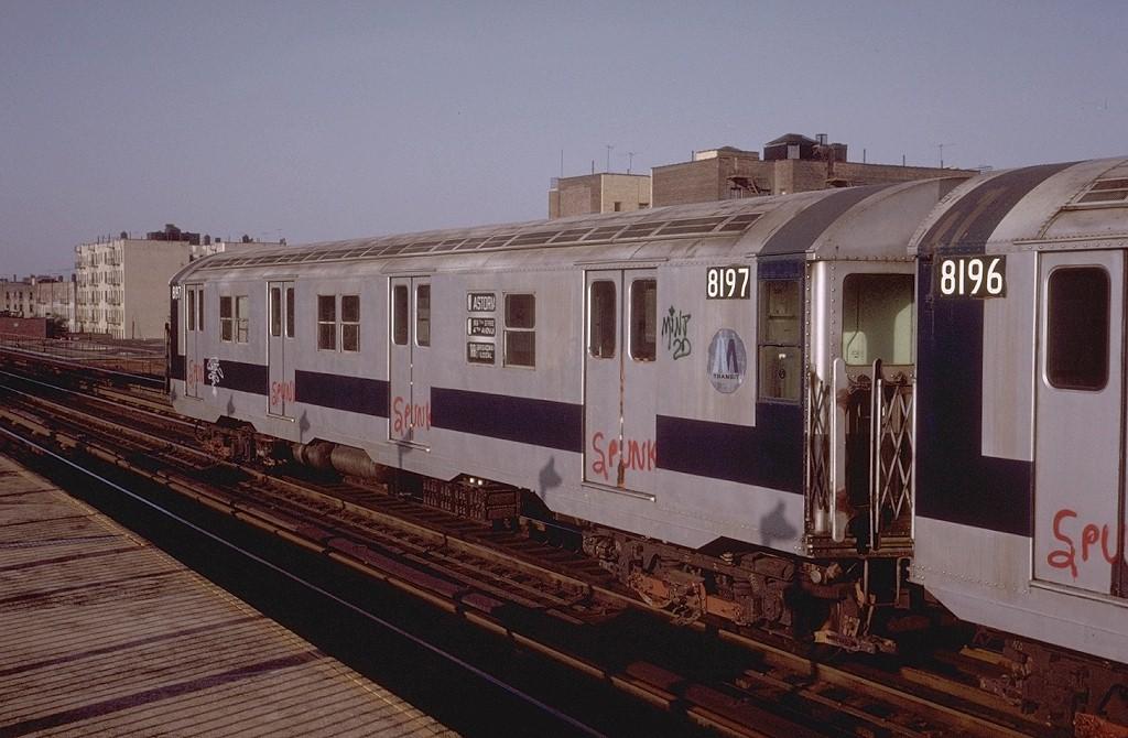 (180k, 1024x670)<br><b>Country:</b> United States<br><b>City:</b> New York<br><b>System:</b> New York City Transit<br><b>Line:</b> BMT Astoria Line<br><b>Location:</b> 36th/Washington Aves. <br><b>Route:</b> RR<br><b>Car:</b> R-27 (St. Louis, 1960)  8197 <br><b>Photo by:</b> Steve Zabel<br><b>Collection of:</b> Joe Testagrose<br><b>Date:</b> 5/14/1974<br><b>Viewed (this week/total):</b> 0 / 3456