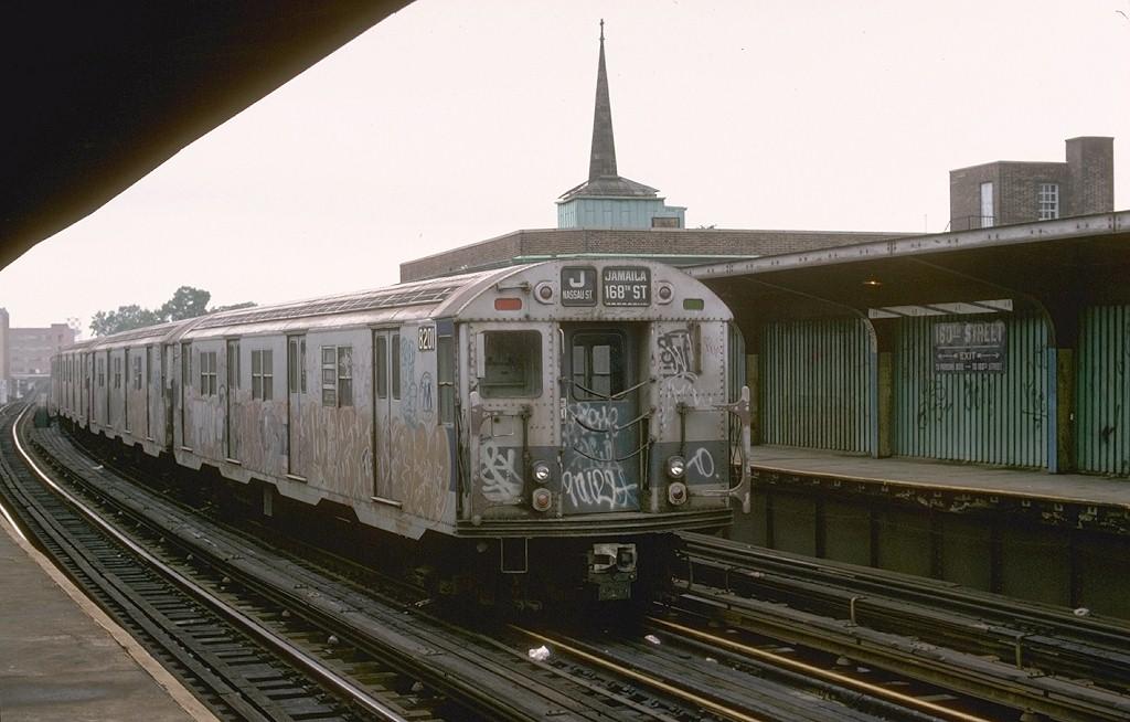 (164k, 1024x654)<br><b>Country:</b> United States<br><b>City:</b> New York<br><b>System:</b> New York City Transit<br><b>Line:</b> BMT Nassau Street/Jamaica Line<br><b>Location:</b> 160th Street (Demolished) <br><b>Route:</b> J<br><b>Car:</b> R-27 (St. Louis, 1960)  8201 <br><b>Photo by:</b> Joe Testagrose<br><b>Date:</b> 9/10/1977<br><b>Viewed (this week/total):</b> 3 / 6548