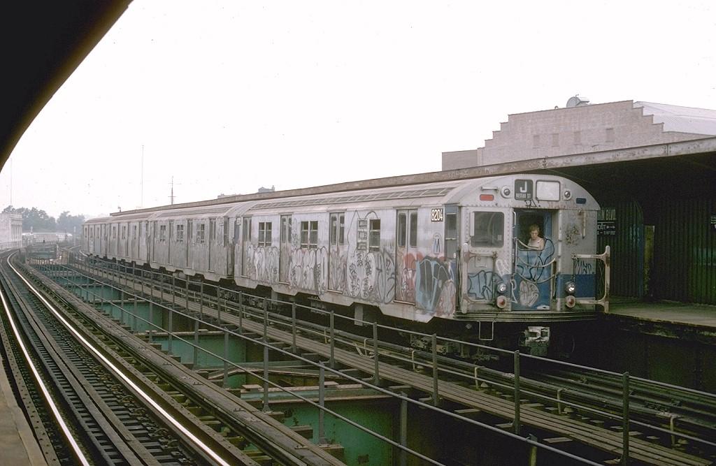 (175k, 1024x667)<br><b>Country:</b> United States<br><b>City:</b> New York<br><b>System:</b> New York City Transit<br><b>Line:</b> BMT Nassau Street/Jamaica Line<br><b>Location:</b> Sutphin Boulevard (Demolished) <br><b>Route:</b> J<br><b>Car:</b> R-27 (St. Louis, 1960)  8204 <br><b>Photo by:</b> Joe Testagrose<br><b>Date:</b> 9/6/1977<br><b>Viewed (this week/total):</b> 2 / 6005